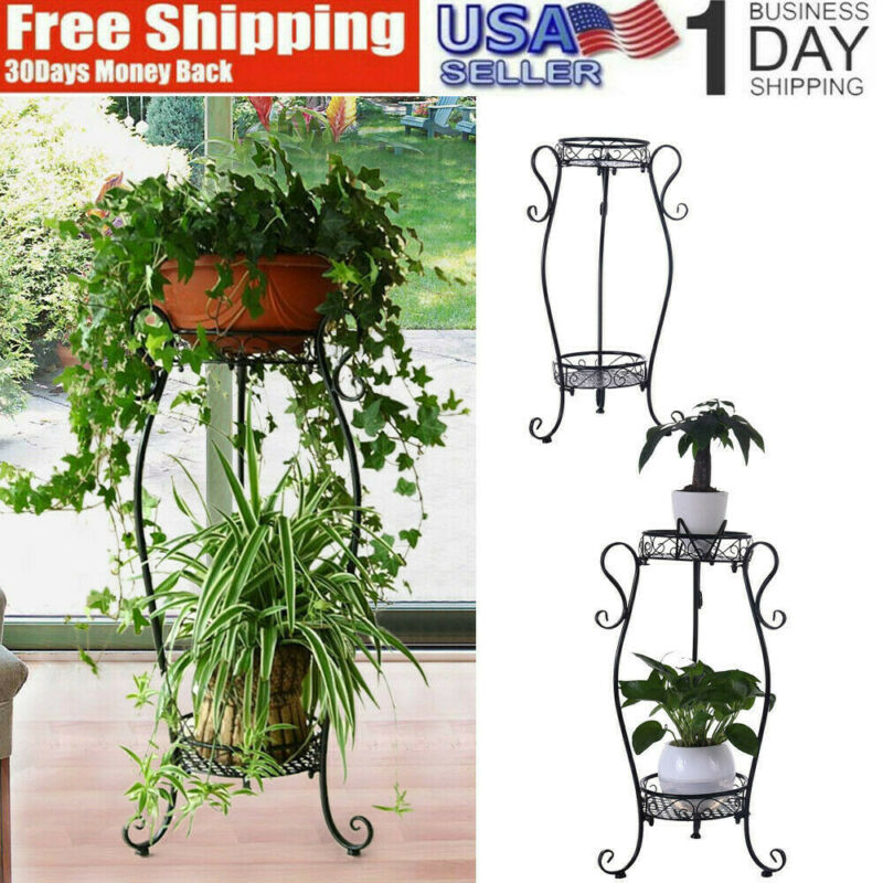 2 Tier Metal Plant Stand Planter Decorative Holder Flower Po