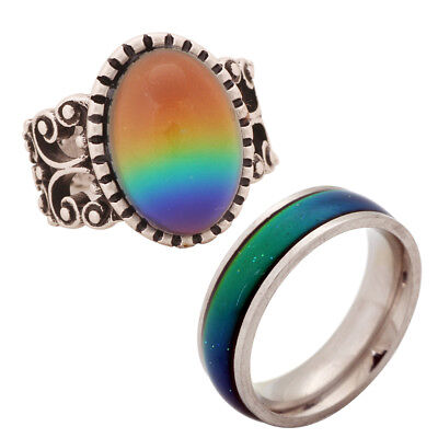 Mood Ring For Sale (2 PCS Large Stainless Steel Color Change Ring 13*18MM Mood Stone Ring for)