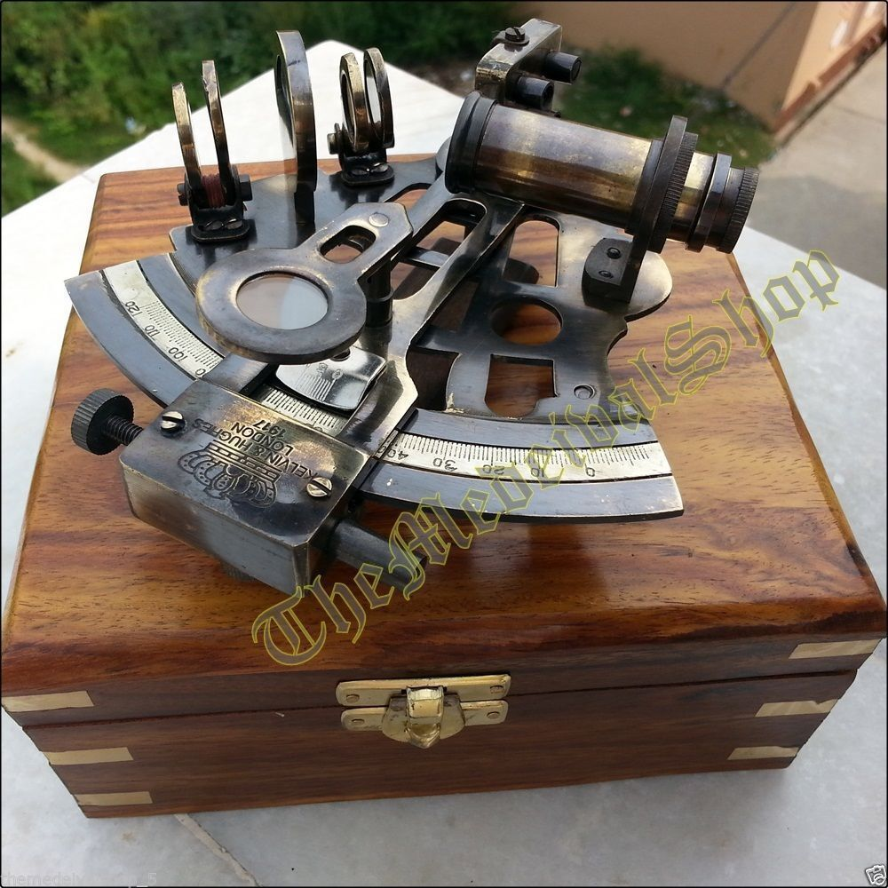 COLLECTIBLE NEW NAUTICAL MARINE SEXTANT & WOODEN BOX BRASS GERMAN ASTROLABE