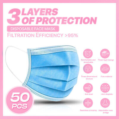 50PCS 3-PLY Layer Disposable Face Mask Dust Filter Safety Protection Non-Woven