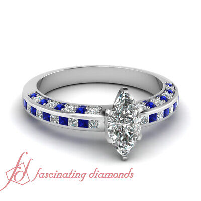 1.20 Ct Marquise Cut Diamond & Blue Sapphire Multiple Row Engagement Ring GIA