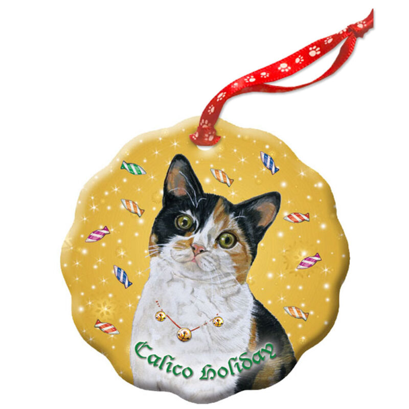 Calico Cat Holiday Porcelain Christmas Tree Ornament