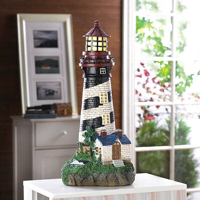 SOLAR POWERED LIGHTHOUSE GARDEN YARD DECOR-35719