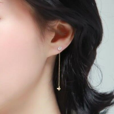 TPD 14K Solid Yellow Gold Butterfly Long Threader Drop Dangle a Pair of Earrings