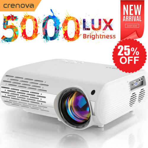 Crenova Beamer Video Projektor Full HD 1080P LED LCD 3D Heimkino Beamer 4000:1