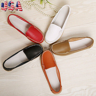 2017Fashion Women Loafers Shoes Flat Boat Oxfords Casual Leather Shoes USPS