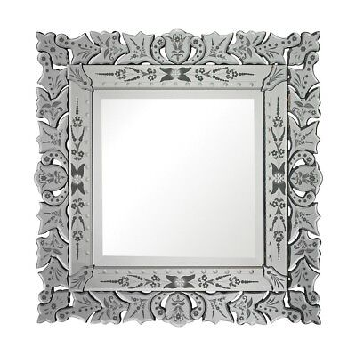 Venetian Square Wall Vanity Mirror Hand Cut Embellishments Floral Ornate 30""