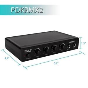PYLE PDKRMX2 Audio Control Mixer, Karaoke Audio Sound Mixer System with two microphone inputs, echo and tone