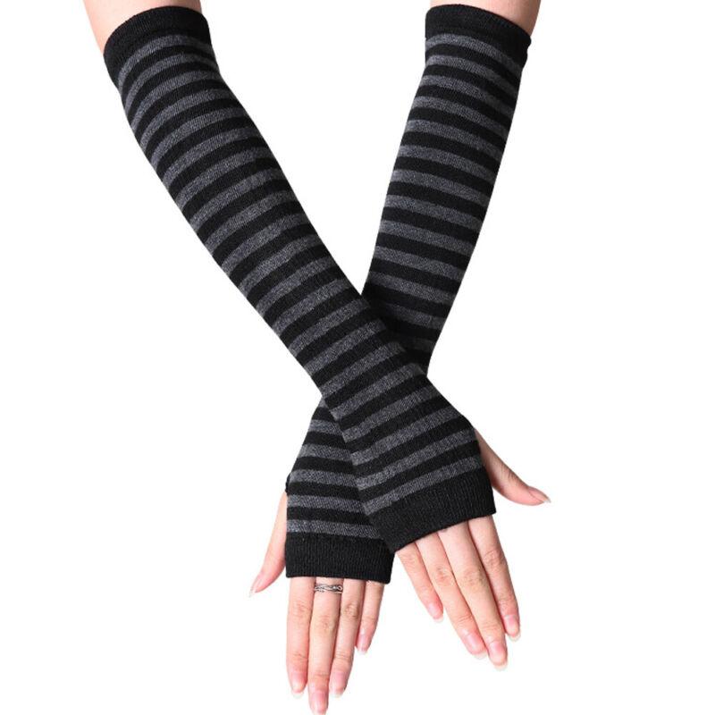 Women Girls Striped Long Arm Sleeve Wrist Warmer Fingerless Gloves Soft Mittens Clothing, Shoes & Accessories
