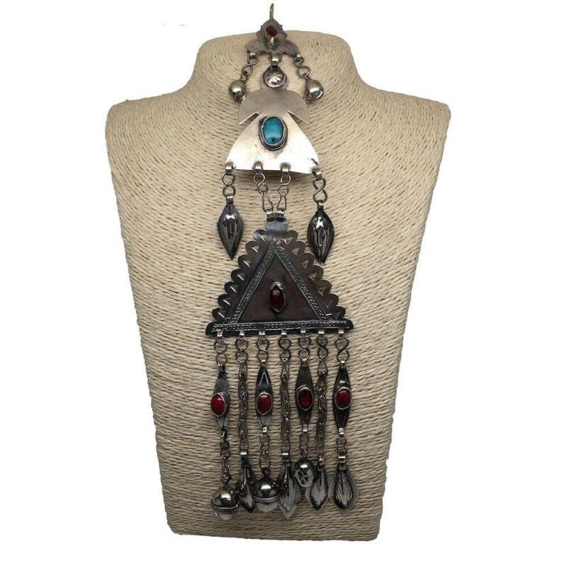 77.6 Grams Old Afghan Turkmen Tribal ATS Bib Tassel Pendant German Silver, TN78