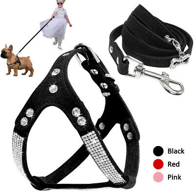 Bling Rhinestones Step In Dog Harness& Leash Adjustable Suede Pink Red Black (Pink Leather Dog Harness)