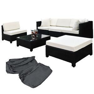 Salon de jardin canap fauteuil table basse pouf r sine tress e poly rotin noir - Table basse resine tressee noir ...