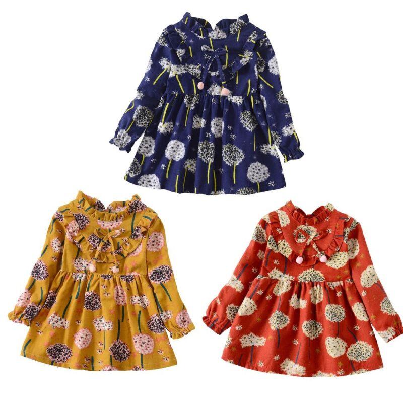 Toddler Baby Girl Long Sleeves Floral Print Princess Dress O