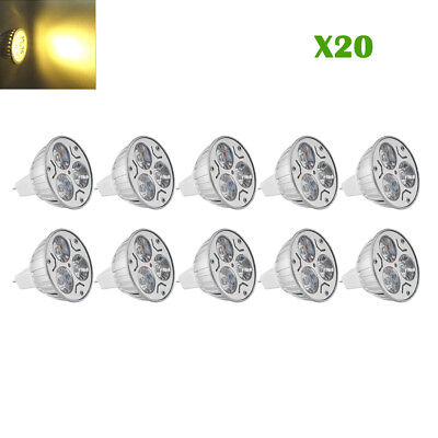 Led-spot-licht (20X 3W MR16 LED Spot Licht Glühbirne COB Leuchtmittel Birne Leuchte Warmweiß 12V)