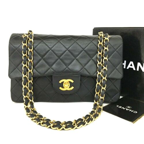 CHANEL Double Flap 23 Quilted CC Logo Lambskin w/Chain Shoulder Bag Black/e445