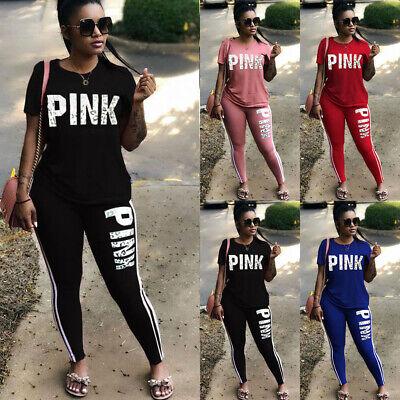 Ladies Women's Short Sleeve Tracksuit Lounge-wear Jogging 2 piece Suit Plus Size