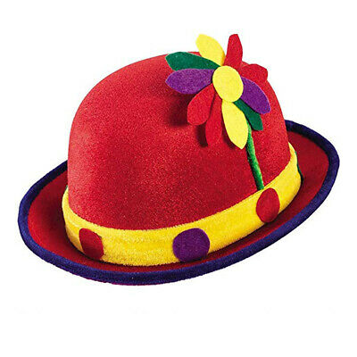 Red Clown Derby Hat with Flower Circus Funny Adult Halloween Costume Headwear