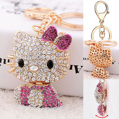 2018 Hello Kitty Key Chain Crystal 3D Ring Car Purse Cover Wallet Bag Decor Hot