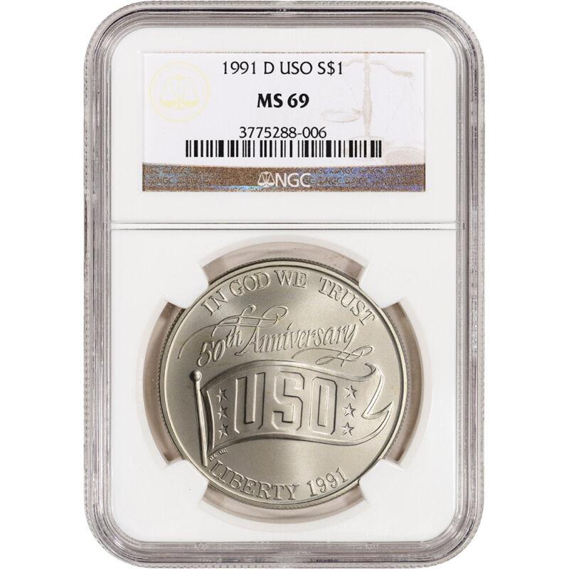 1991-D US USO 50th Anniversary Commemorative BU Silver Dollar - NGC MS69