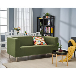 3 Seater Linen Fabric Sofa Home Armchair Settee Couch with Removable Slipcovers