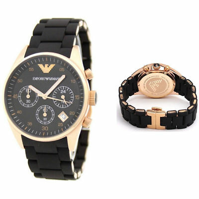 NEW GENUINE EMPORIO ARMANI AR5906 ROSE GOLD BLACK SILICONE LADIES WATCH WARRANTY