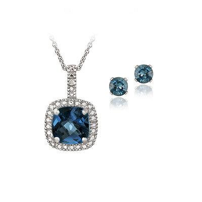 925 Silver 4ct London Blue Topaz & Diamond Accent Square Necklace & Earring Set
