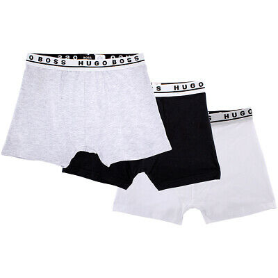 Hugo Boss Mens StretchCotton 3 Pack Boxer Underwear Black/White/Grey Size Medium