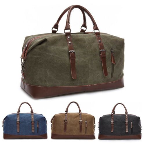 Vintage Men's Leather Military Canvas Travel Luggage Shoulde