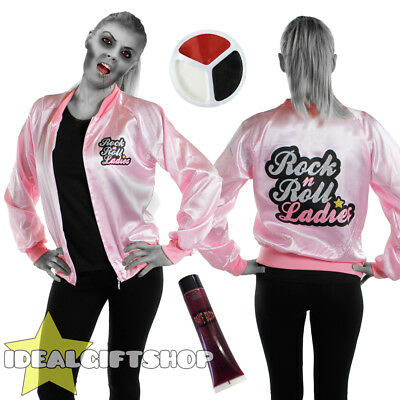 PINK ZOMBIE LADY LADIES HALLOWEEN FANCY DRESS SET - Pink Lady Halloween Kostüme