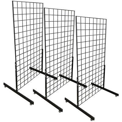 3 Gloss Black Gridwall Panel 4 Ft Tall Wire Grid Shelving Board T-leg Retail