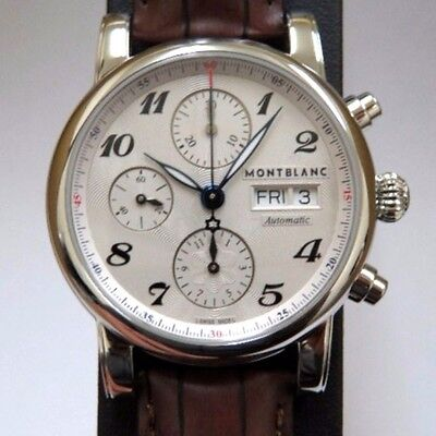Montblanc Star Chronograph Automatic 106466 Mens Alligator Brown Leather Watch