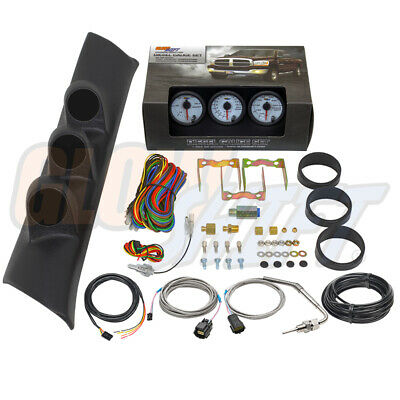 W7 Boost EGT Trans Temp Gauges + Triple Pod for 94-97 Dodge Ram 3500 12v Cummins