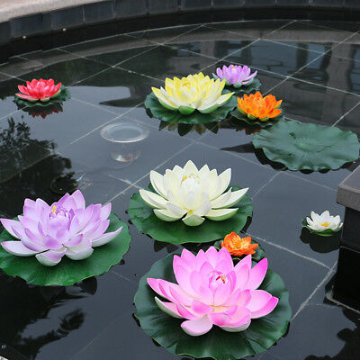 Artificial Lotus Water lily Floating Flower Pond Tank Plant Ornament 17CM EA7X