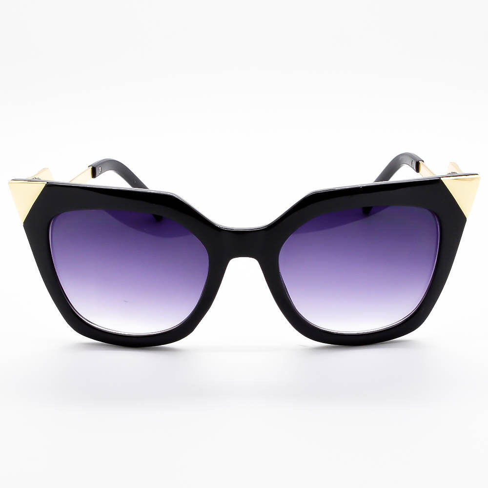 Designer Inspired Zig Zag Arms Angular Cat Eye Edged Sunglasses