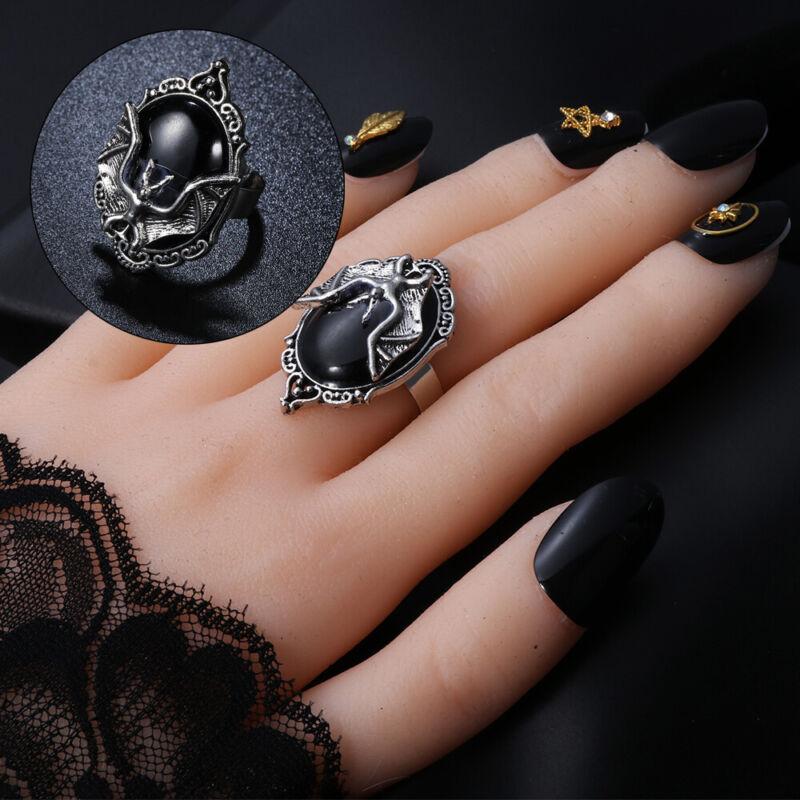 Schmuck Neu Black Bat Ring Halloween Gotischer Hexenring Bat Cameo Ring
