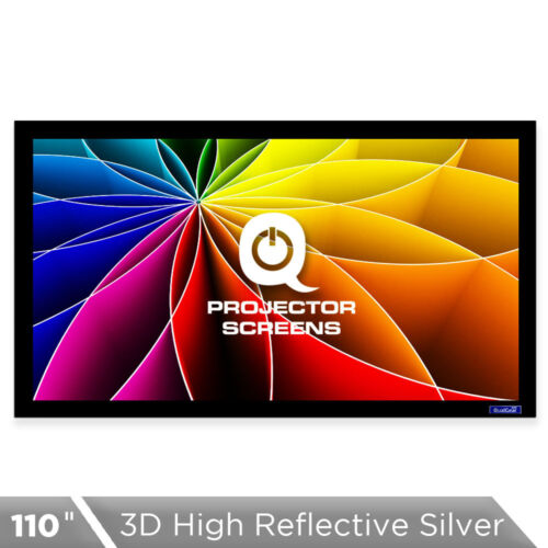QualGear 110 Inch Fixed Frame Projector Screen, High Reflective Silver, 2.5 Gain