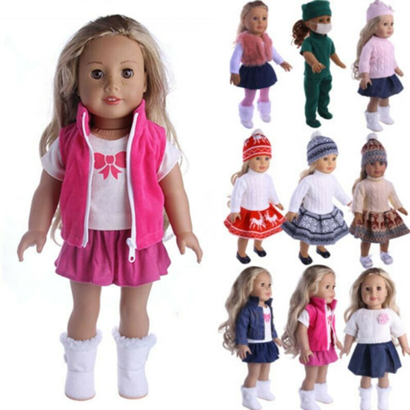 Doll Clothes Lot Dress Dresses For American Girl 18 Inch Dolls Cloths Outfit Set