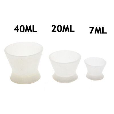 Dental Lab Flexible Silicone Dappen Dish Mixing Bowl Cup 7 20 40ml 3sizes