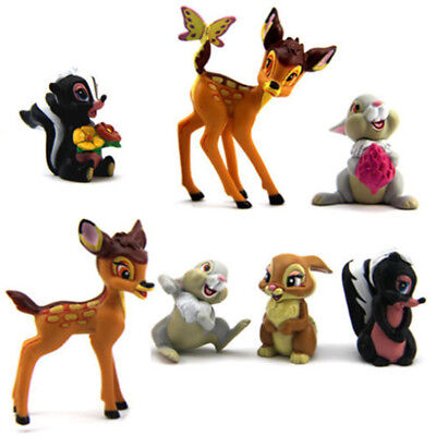 Thumper Toys (7 PCS Bambi Thumper Flower Bambi Action Figure Kids Gift Doll Cake Topper Toy)