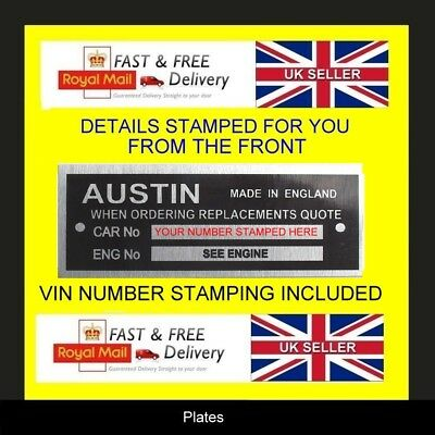 AUSTIN CARS A30 A35 A40  MINI ID ALL BLANK VIN CHASSIS PLATES STAMPED FOR YOU