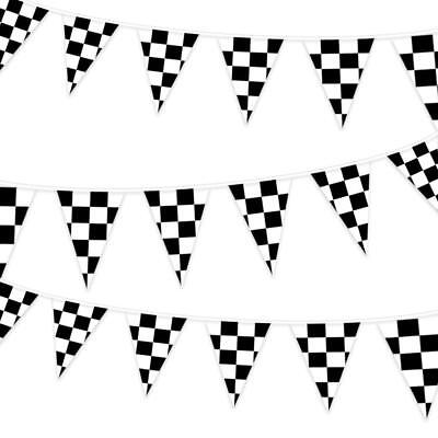 DREAMYHOUSE 2pcs Black and White Pennant Banner Racing Flags +10 Checkered Flags - Checkered Flag Pennant Banner