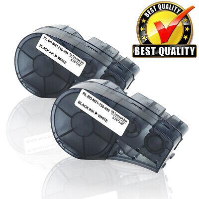 2pk Compatible For Brady Bmp21-plus M21-750-499 Label Tape Black White 34x16