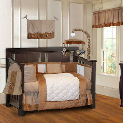 BabyFad 10 Piece Minky Brown Baby Crib Bedding set