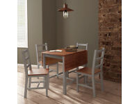 Dining Table and Chairs Dining Set Grey & Brown with Extending Table Pine Wood
