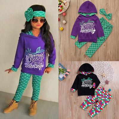Toddler Kids Baby Girl Mermaid Hoodie Tops Pants - Baby Mermaid Outfit