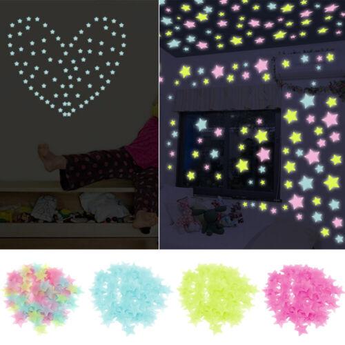 Home Decoration - US 100X Glow Stars Dark Plastic Luminous Stars Stickers Ceiling Bedroom Art New