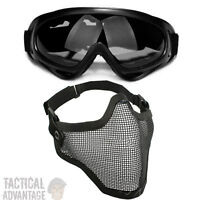 Airsoft X400 Grey Lens Goggles + Mesh Wire Mask Full Face Protection Glasses - non branded - ebay.co.uk