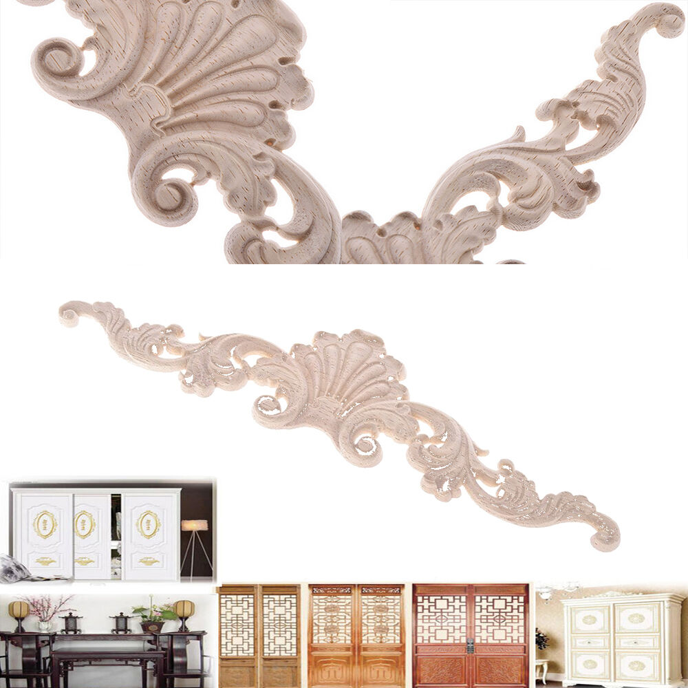 Wood carved applique frame corner onlay furniture home for Applique furniture decoration