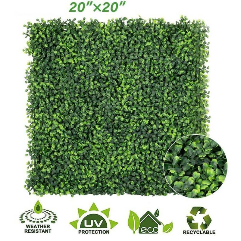 "New 20"" Artificial Milan Grass Boxwood Mat Wall Hedge Decor Fence Yard Outdoor"