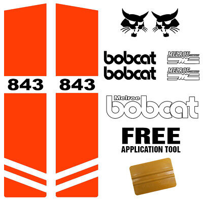 Bobcat 843 Skid Steer Set Vinyl Decal Sticker Kit 9 Pc Set Free Applicator Usa